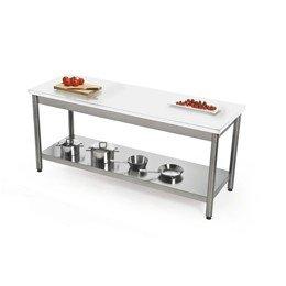 Keukentafel RVS en wit Corian®, in 2 maten