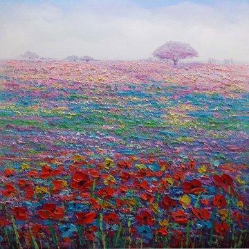 Canvas schilderij Veld met Bloemen 100x100 cm