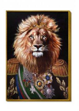 Canvas schilderij met lijst Lion King 100x70cm
