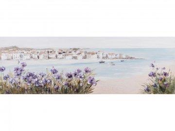 Canvas schilderij Stadje aan de Kust 50x150cm