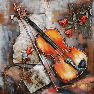 3D schilderij Viool met Strijkstok 80x80 cm