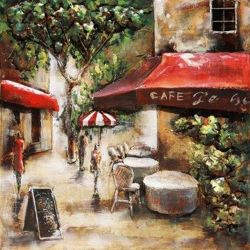3D schilderij Café in Parijs 60x60 cm