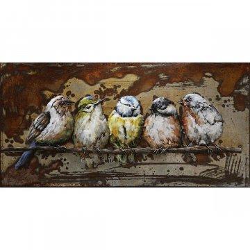 3D schilderij Vijf Vogels op een Stokje 50x100 cm