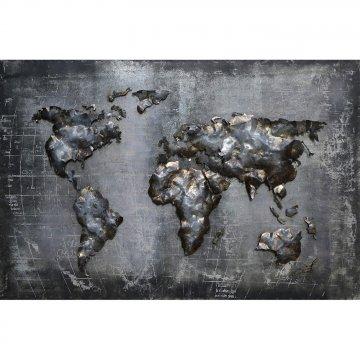 3D schilderij Landkaart Wereld 80x120 cm