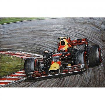 3D schilderij Geel Rode F 1 Racewagen 80x120 cm