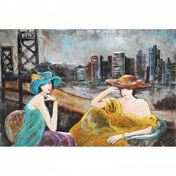 3D schilderij Dames bij Golden Gate Bridge 80x120 cm