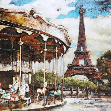 3D schilderij Carrousel in Parijs 100x100 cm