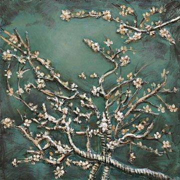 3D schilderij Amandel Bloesem Van Gogh 60x60 cm