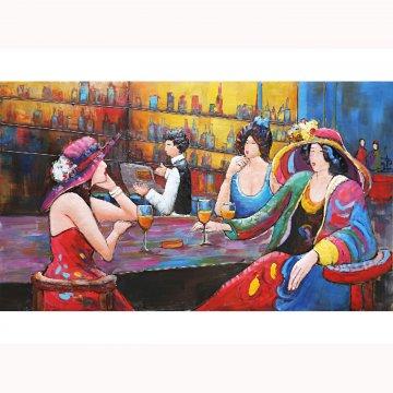 3D schilderij Dames aan de Bar 180x105 cm
