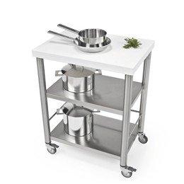 Keukentrolley 70 cm, RVS en wit Corian®