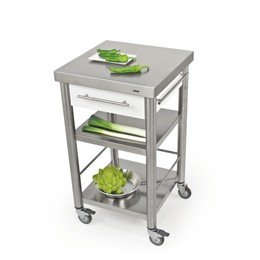 Keukentrolley 50 cm, RVS en wit Corian®