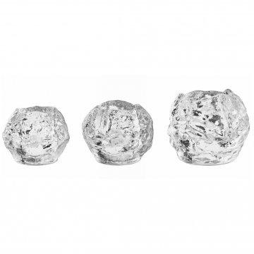 Kosta Boda Snowball, set van 3 waxinelichthouders